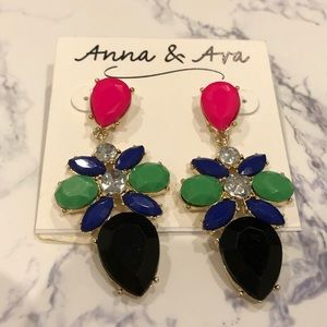 New Anna & Ava colorblock colorful earrings